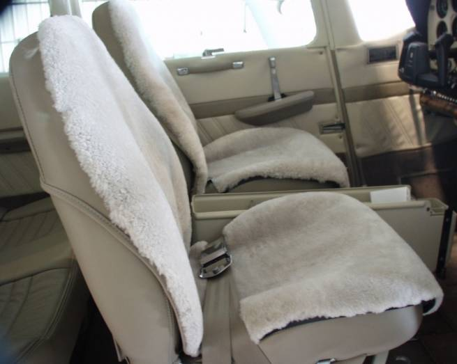 Sheepskin seat covers in a 182 by SCS Interiors