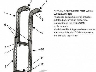 Airforms, Inc. Awarded FAA PMA Approval for C208/208B Crew Ladder Components